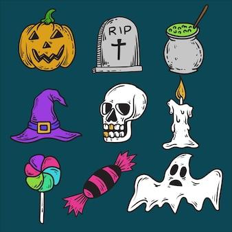 Conjunto de ícones vetoriais de halloween desenhados à mão