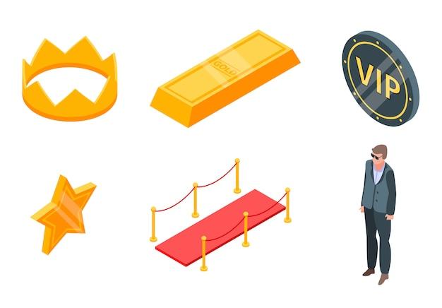 Conjunto de ícones vip, estilo isométrico