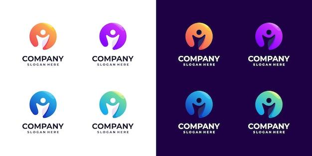 Conjunto de ideia de design de logotipo gradiente de pessoas coloridas