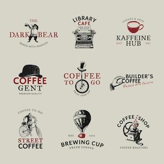 Conjunto de identidade corporativa do logotipo da cafeteria