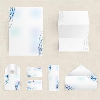Conjunto de identidade corporativa em branco de envelopes, cartões e papel
