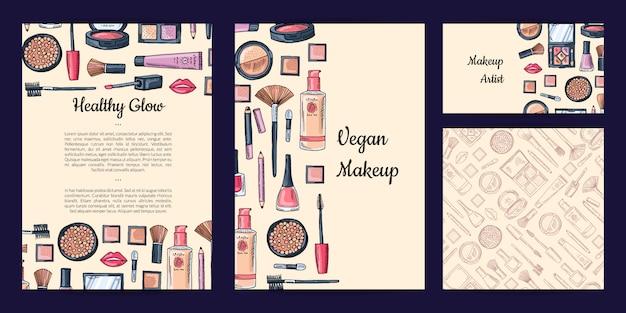 Conjunto de identidade de marca de beleza ou maquiagem