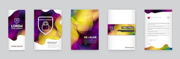 Conjunto de identidade visual com elementos de logotipo de carta estilo poligonal papel timbrado e malha de estilo de design suave maquetes de modelo de capa de brochura para negócios com nomes fictícios