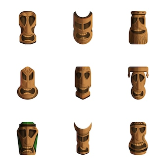 Conjunto de ídolos de tiki, estilo cartoon
