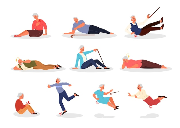 Conjunto de idosos caindo. homens e mulheres aposentados caindo. idoso com cana caindo. dor e lesões.