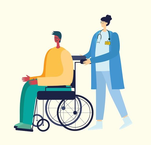 Conjunto de idosos em estilo simples. idosos em diferentes situações com cuidadores