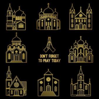 Conjunto de igreja cristã de linha ouro