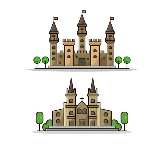 Conjunto de igreja e castelo de desenho animado