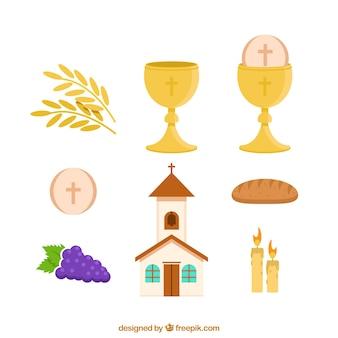 Conjunto de igreja e objetos de primeira comunhão