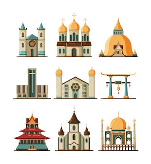 Conjunto de igreja tradicional. edifícios de religião evangelística e luterana cristã, mesquita islâmica muçulmana e catedral ortodoxa, imagens de pagode budista e sinagoga