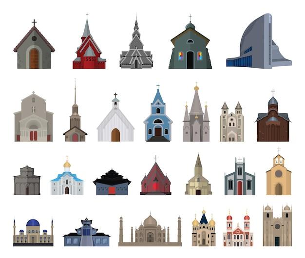 Conjunto de igrejas, mosteiros e mesquitas. objetos arquitetônicos vetoriais de diferentes países.