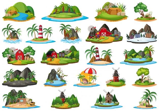 Conjunto de ilha isolada da natureza