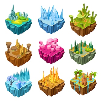 Conjunto de ilhas de jogo coloridas isométricas