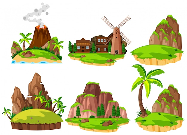 Conjunto de ilhas diferentes