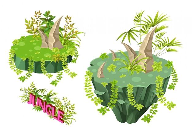 Conjunto de ilhas tropicais isométricas.