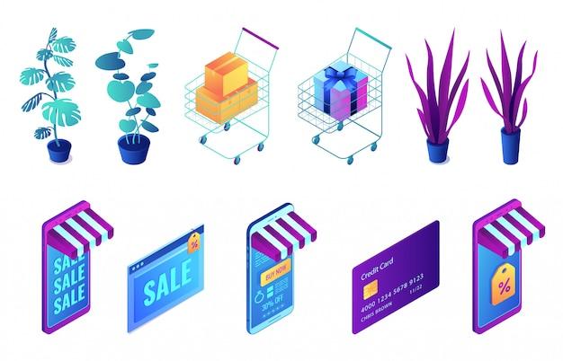Conjunto de ilustração 3d isométrica de compras e plantas on-line.