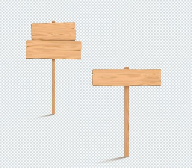 Conjunto de ilustração 3d simples para placa de madeira