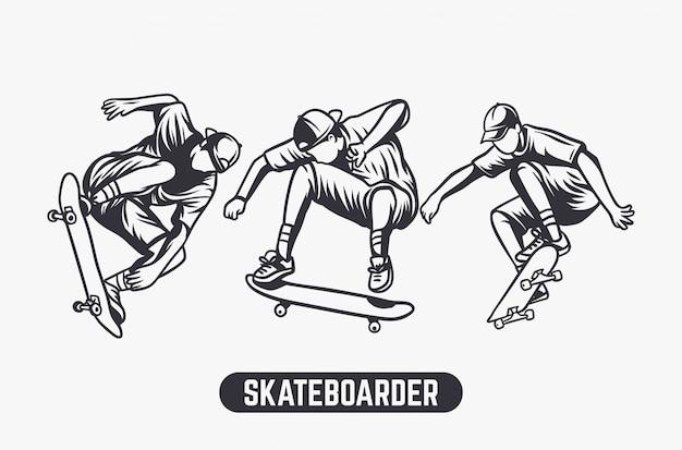 Conjunto de ilustração a preto e branco de skatista