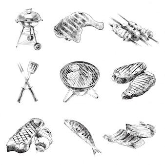 Conjunto de ilustração a preto e branco