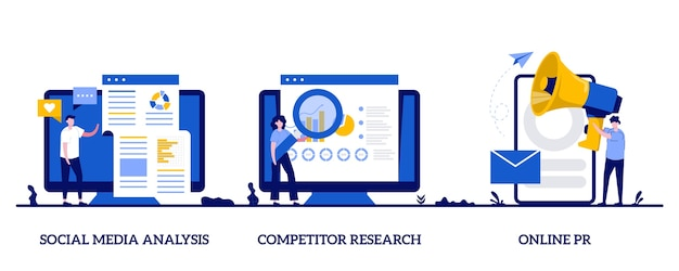 Conjunto de ilustração abstrata de desenvolvimento de estratégia de publicidade de produto