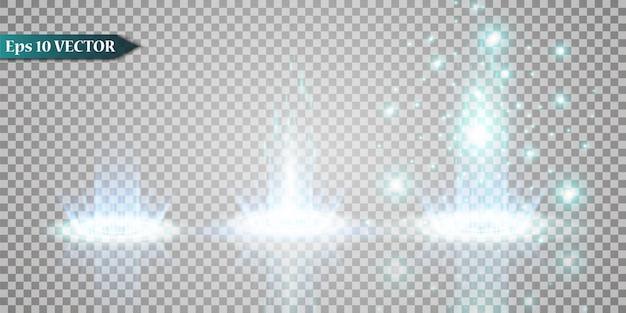 Conjunto de ilustração abstrata de onda de brilho branco. pó de estrelas brancas trilha partículas cintilantes isoladas em fundo transparente. conceito mágico.