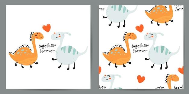 Conjunto de ilustração bonitinha e padrão sem emenda com dinossauros