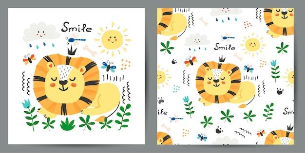 Conjunto de ilustração bonitinha e padrão sem emenda com leões