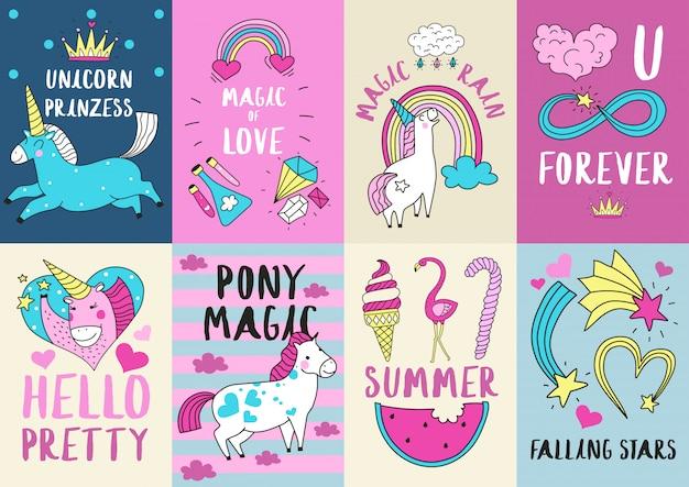 Conjunto de ilustração bonito cartão mágico