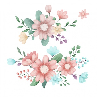 Conjunto de ilustração bonito de flores da primavera floresta