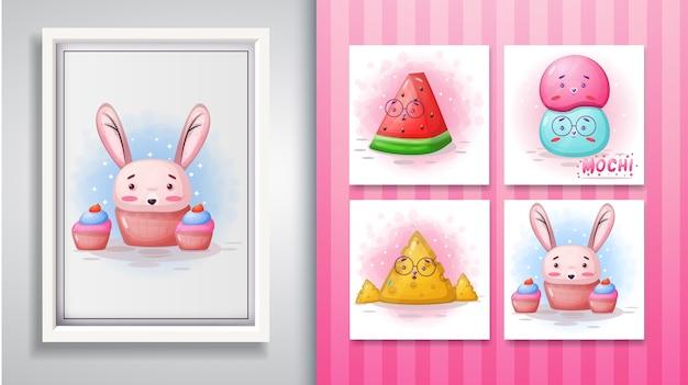 Conjunto de ilustração bonito dos desenhos animados e quadro decorativo.