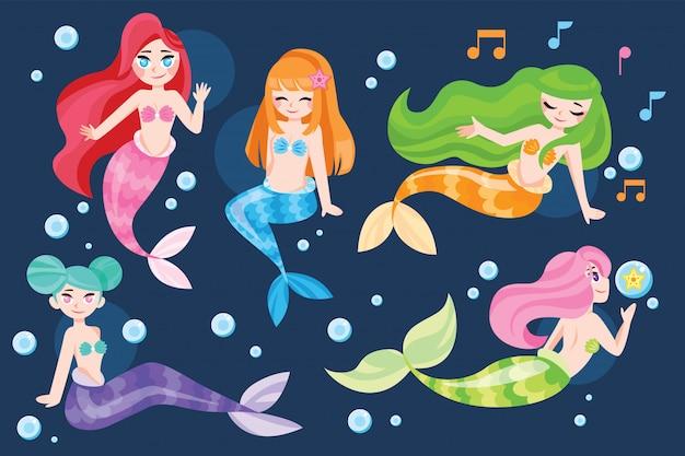 Conjunto de ilustração bonito dos desenhos animados sereia