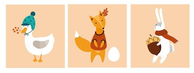 Conjunto de ilustração cartões de outono com bonitos desenhos animados de animais da floresta