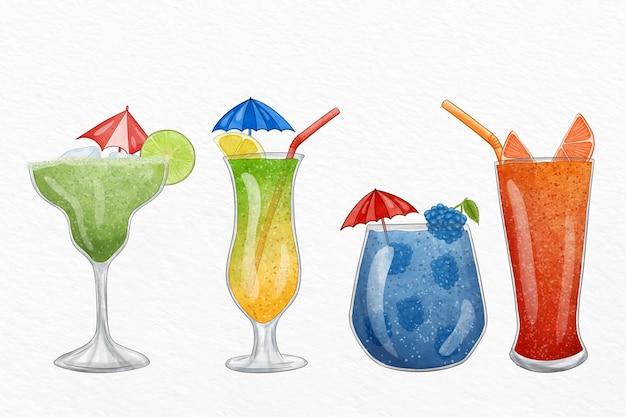 Conjunto de ilustração cocktail aquarela