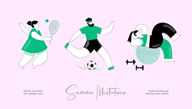 Conjunto de ilustração colorida de vetor de verão de atividade de pessoas para identidade de marca ou web design