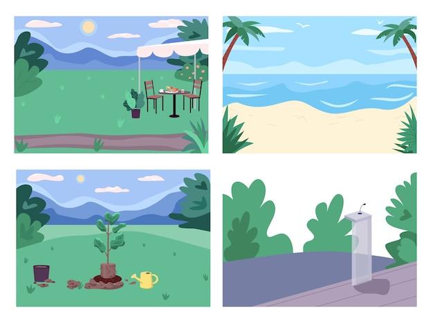 Conjunto de ilustração colorida para lugares públicos