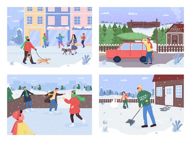 Conjunto de ilustração colorida plana de inverno fora da atividade