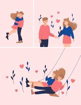 Conjunto de ilustração com casais amorosos felizes