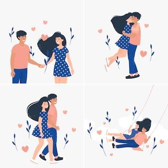 Conjunto de ilustração com casais amorosos fofos