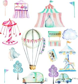 Conjunto de ilustração com elementos de aquarela do parque de diversões