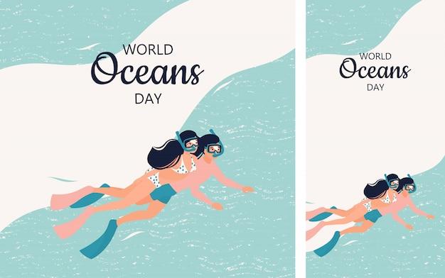 Conjunto de ilustração com um casal de mergulhadores para o dia mundial dos oceanos em formato instagram