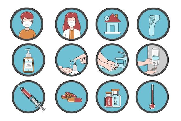 Conjunto de ilustração corona vírus e medicamentos saudáveis