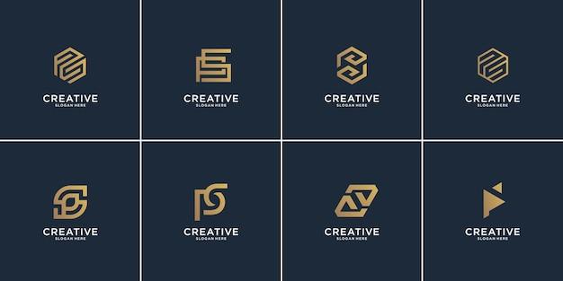 Conjunto de ilustração criativa monograma letra p e letra s.icon para negócios, equilíbrio.