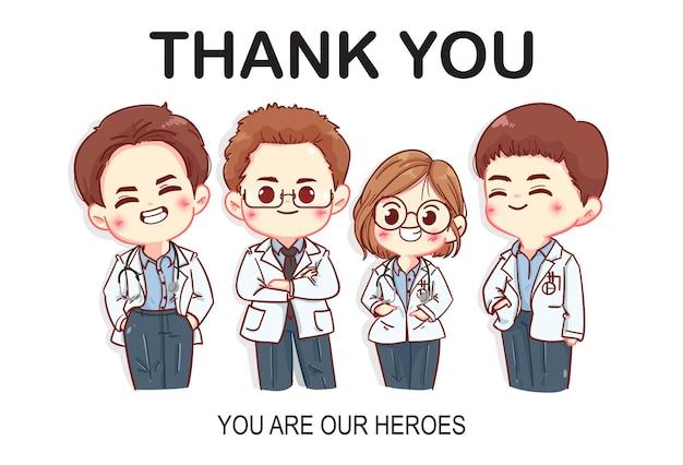 Conjunto de ilustração da arte dos desenhos animados dos personagens de agradecimento aos médicos