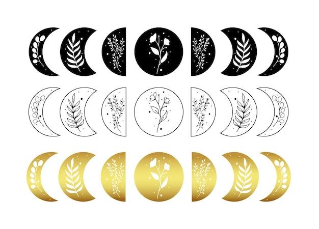 Conjunto de ilustração da fase da lua celestial com folha floral
