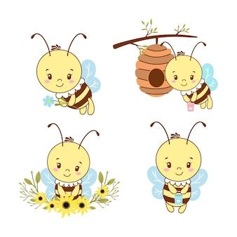 Conjunto de ilustração de abelhas sorridentes fofas