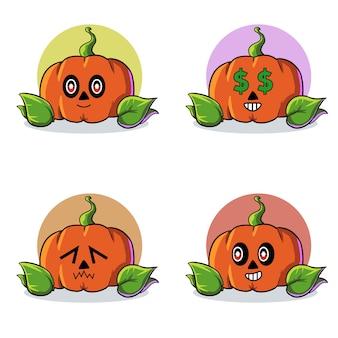 Conjunto de ilustração de abóbora de halloween com rosto