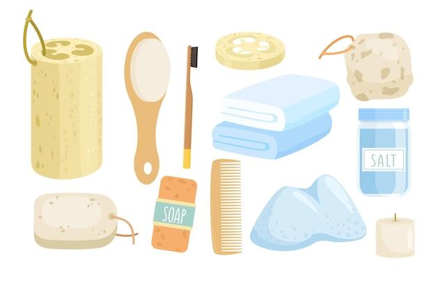 Conjunto de ilustração de acessórios de banho ecológico. desenho animado zero resíduos de coleta de banheiro