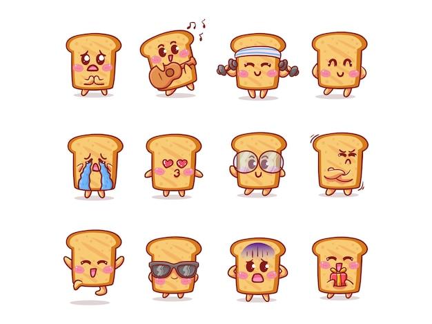 Conjunto de ilustração de adesivo de pão fofo e kawaii com várias atividades e expressões para mascote