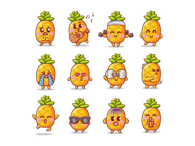 Conjunto de ilustração de adesivos de abacaxi fofo e kawaii