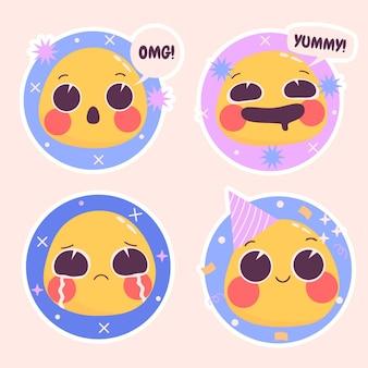 Conjunto de ilustração de adesivos emoticons ingênuos